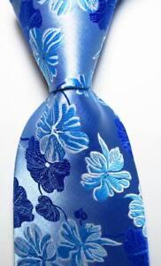New-Classic-Floral-Blue-White-JACQUARD-WOVEN-100-Silk-Men-039-s-Tie-Necktie