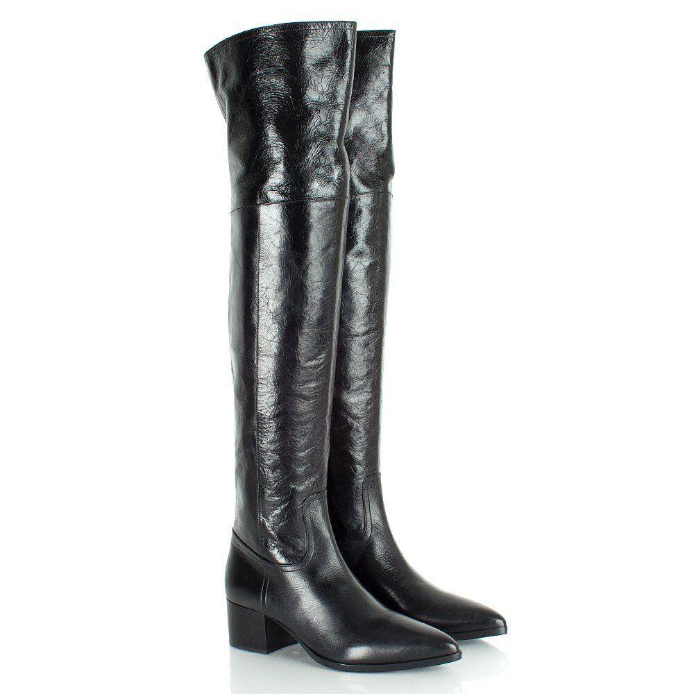 Miu Miu Over the Knee Heeled Vitello Shine Leather Boots Size US 9 $1200