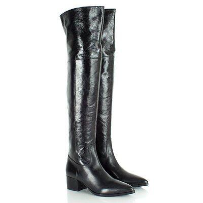 Miu Miu Over the Knee Heeled Vitello Shine Leather Boots Size US 9 EU 39 $1200