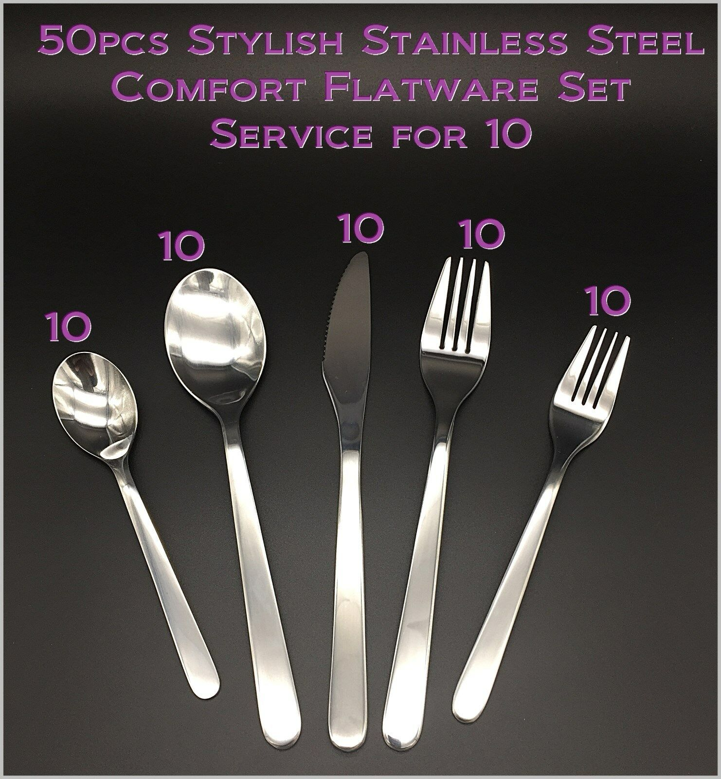 50pcs - New Modern, Stylish & Classic Classic Classic Stainless Steel Flatware - Set for 10 d0310e