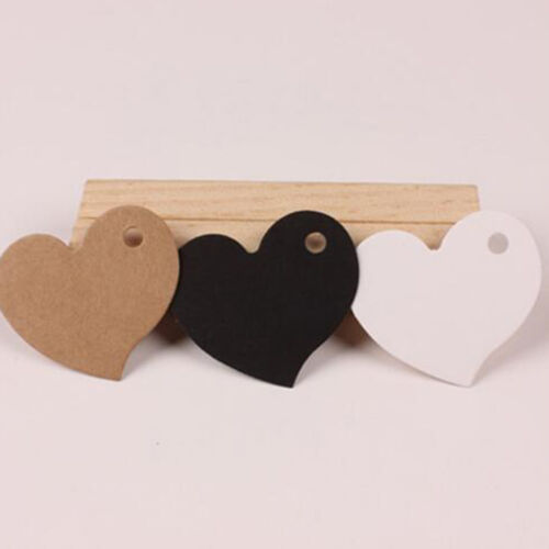 100pcs DIY Heart Gift Paper Label Price Hang Tags Cards Wedding Party Favor