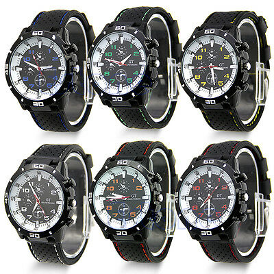 Mens Boys Cool Silicone Rubber Casual Sport Watch Analog Quartz Wristwatch