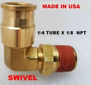 1//4 OD x 1//4 NPT Quick Brass Push In Connect Air Fitting Male Swivel Elbow