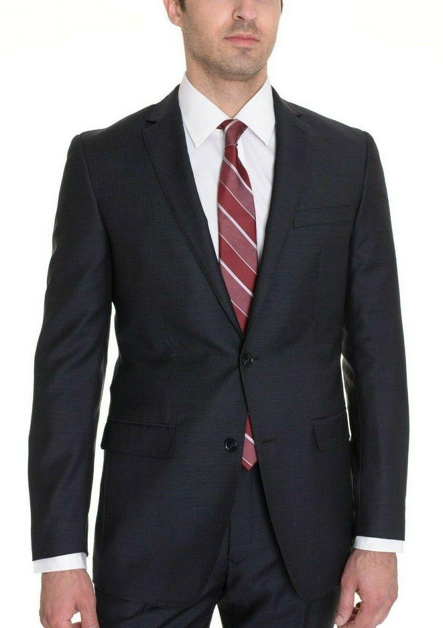 Bar III Slim Fit Navy bluee Striped Two Button 100% Wool Blazer Sportcoat