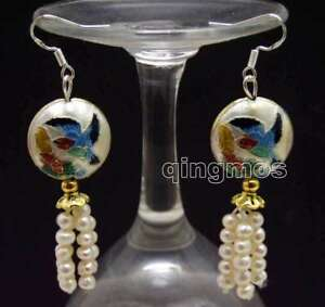 SALE-4-5mm-White-Round-Natural-Pearl-amp-18mm-White-Cloisonne-Dangle-earring-ea587
