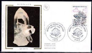 FRANCE-FDC-2430-1-MINERAUX-QUARTZ-13-Septembre-1986-LUXE-sur-soie
