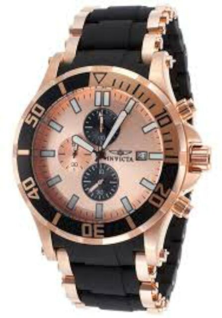 NEW Invicta 80141 Mens Sea Spider Two Tone Ion Plated Rose Black/Gold Band Watch