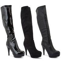 Ladies High Heel Womens Knee High Platform Boots Zip Stiletto Shoes Size UK 3-8