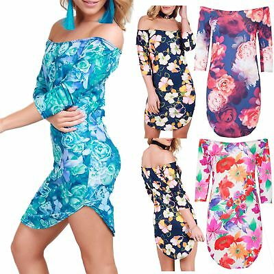 Womens Summer Curved Hem Off Shoulder Print Ladies Bardot 3//4 Sleeves Midi Dress