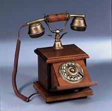 1040 TELEFONO IN LEGNO E OTTONE DA APPOGGIO VINTAGE ANTICO A DISCO