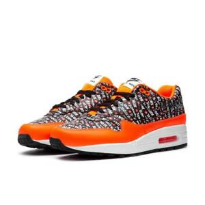 397094c908 NIKE AIR MAX 1 PREMIUM JUST DO IT JDI 875844 008 BLACK/TOTAL ORANGE ...