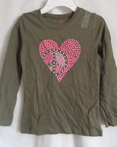 GIRLS L 10 12 GREEN PINK POLKA DOT PEACE HEART SHIRT NWT THE CHILDREN/'S PLACE