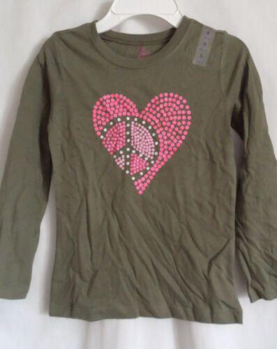 GIRLS L 10 12 GREEN PINK POLKA DOT PEACE HEART SHIRT NWT THE CHILDREN/'S PLACE
