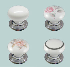 35mm White Cupboard Knob With Polished Chrome Backplates Choice Of 4 Designs