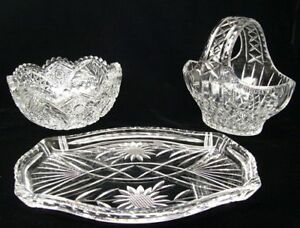 Cut-CRYSTAL-Bowl-CUT-GLASS-Platter-and-Candy-Basket