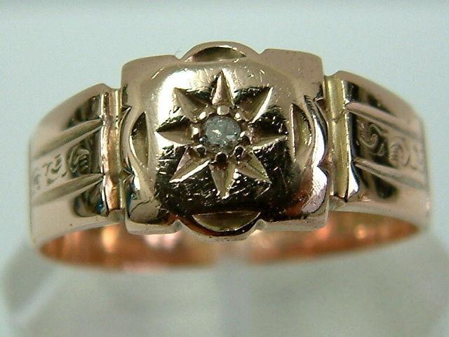 VINTAGE 9 KT rosa oro Gents Anello Anello Anello di uno stile di Finca Data Diamond - 1928-grande dimensione 1cfbdf