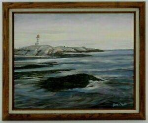 "M.JANE DOYLE SIGNED ORIG. ART OIL/CANVAS PAINTING ""PEGGY'S COVE"" (SEASCAPE) FR."