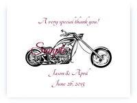 100 Personalized Harley Davidson Motorcycle Bridal Wedding Thank You Cards