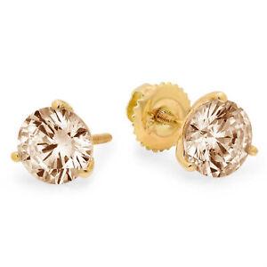 2ct-Diamante-Redondo-champana-simulante-Pendientes-con-Pasador-Martini-De-Oro-Amarillo-14k