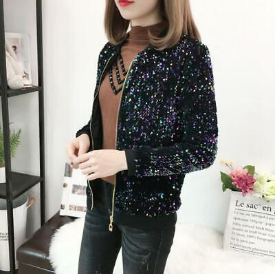 Ladies Womens Black Shiny Sequins Loose Fit Jackets Girls Clubwear Coats M-5XL