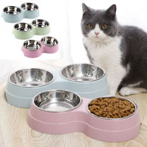 Dog-Cat-Double-Bowl-Puppy-Food-Water-Feeder-Stainless-Steel-Pets-Drinking-Dish