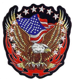 Adler-Eagle-Flames-Aufnaeher-Patch-XL-Rueckenaufnaeher-Biker-USA-Fahne