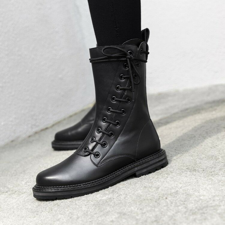 Donne Gladiatore Lace Up Chunky Heels Round Toe Solid Riding Mid Calf stivali scarpe