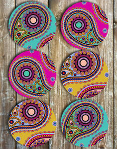 Paisley Mix Neoprene Drink Coasters Set of 6 Barware Tableware Gift Ideas