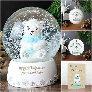 Personnalisé Noël Baubles Polar Bear Family 3 4 5 décorations pour arbres de Noël