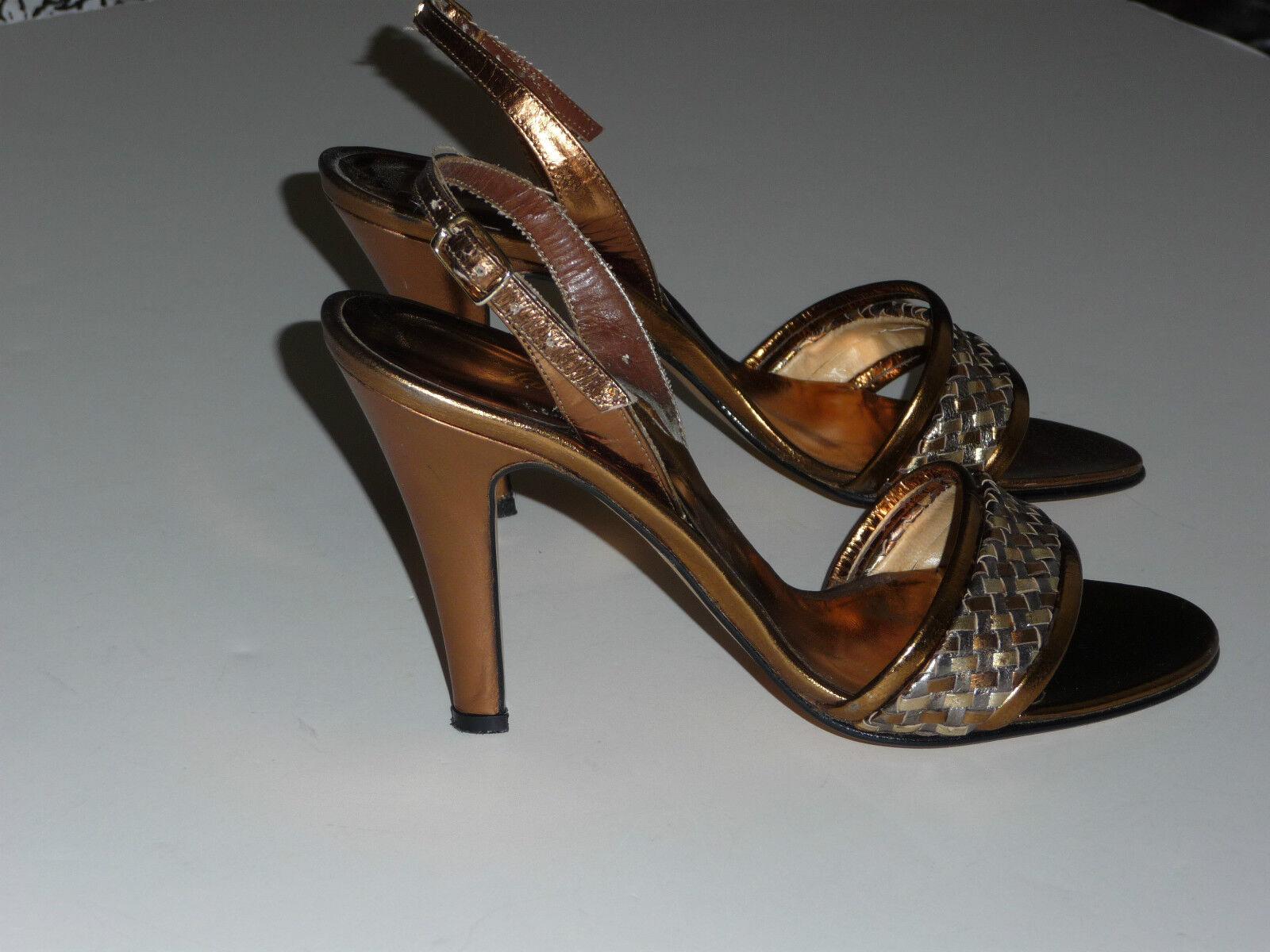 Saks Fifth Avenue Metallic Gold Silber Silber Silber Bronze Woven Sandal Heel  5 M SFA 50fd37