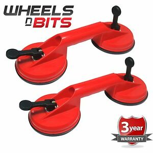 2x Dual Suction Cup Aluminium Glass Lifter Sucker Pad Carrying Grabbing Puller 6 Ebay