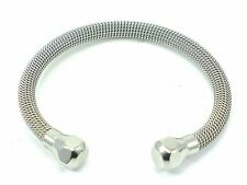 STAINLESS STEEL 316L CUFF LADIES MESH BANGLE BRACELET Adjustable US Seller
