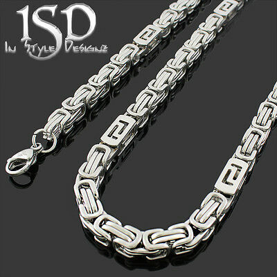 Punk 6MM Stainless Steel Byzantine Chain Necklace Bracelet Unisex/'s Jewelry Set