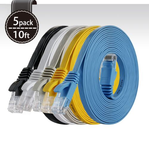 5 Pack 5ft CAT6 Snagless RJ45 Ethernet Network LAN Flat UTP Patch Router Cable