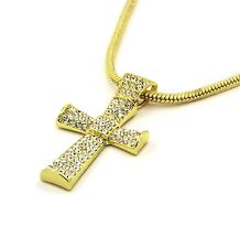 "Mens 14k Gold Filled Fully Cz Cross Pendant Hip-Hop 24"" Snake Necklace Chain 02"