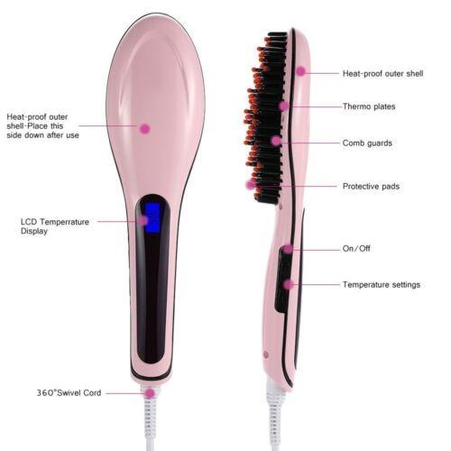 Fast Hair Straightener HQT-906 Glätteisen Bürste LCD Lockenmaschine R3