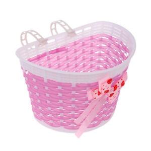 Children Kids Bicycle Front Basket Bike Cycle Shopping Holder Decor Pink