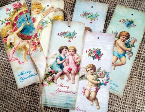 Set of 6 Vintage Style Cherub Christmas Bookmark Gift Tags With Jute Twine