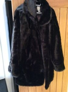 Size-16-Super-Thick-Faux-Fur-Coat-With-Collar-And-Pockets-Super-Warm-Dark-Brown