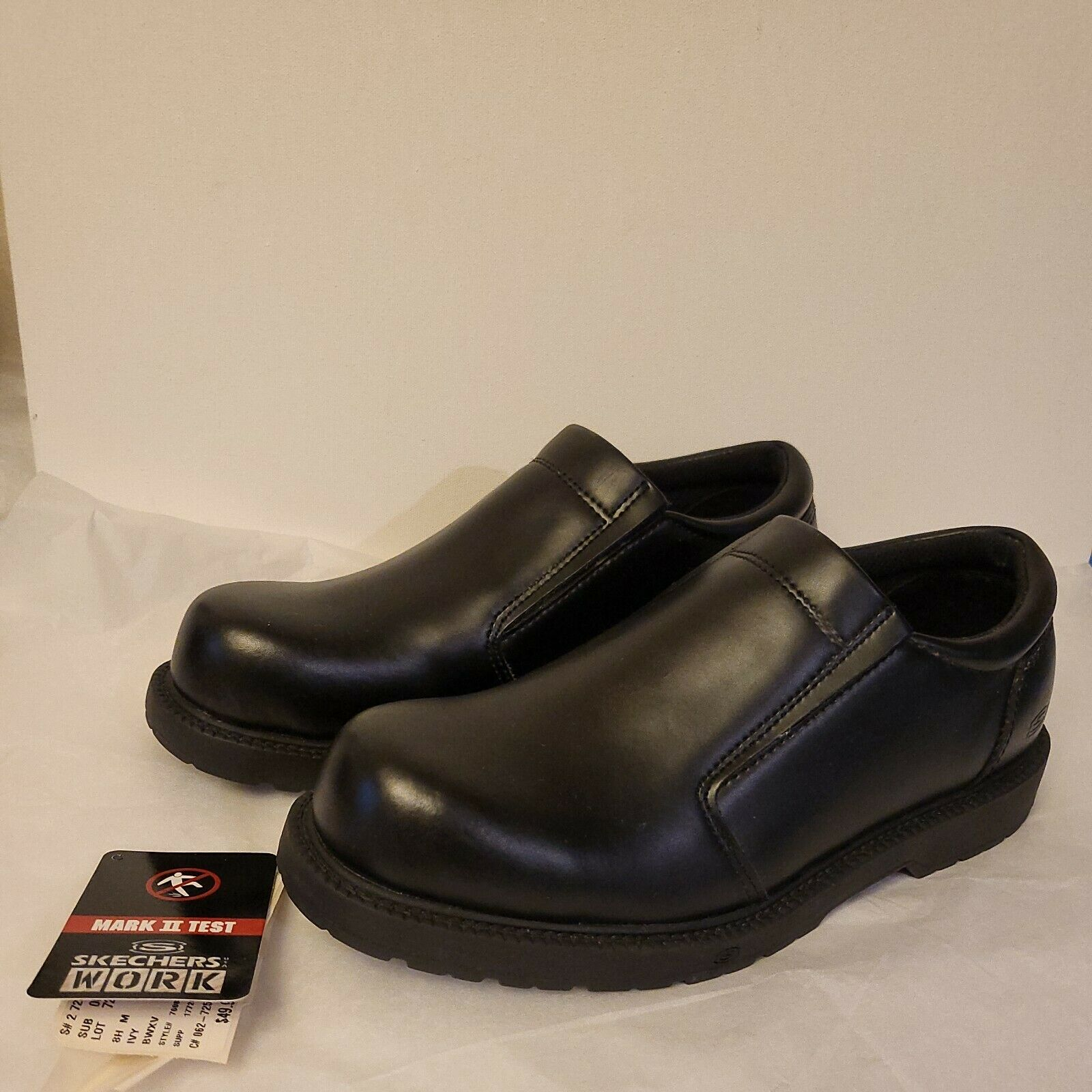 New 8.5 Black Skechers Work Shoes Slip Resistant Sole Mens 76083 Ivy Leather
