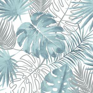 Muriva-Tropical-Feuilles-Papier-Argent-Metallique-Bleu-L604-01-Haute-Qualite