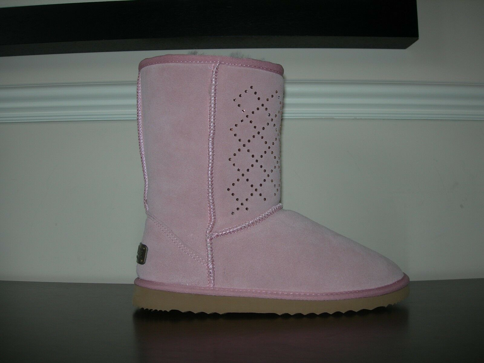 CLOUD NINE SHEEPSKIN WOMEN'S BOOT CALF LENGTH DUSKY PINK RHINESTONE EU 41   UK 7