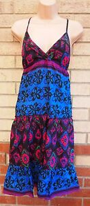 EVIE-FLORAL-BLUE-BLACK-PURPLE-SEQUIN-SMOCK-FLIPPY-BAGGY-BEACH-TUNIC-DRESS-12-M