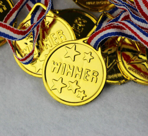 12X Children Gold Plastic Winners Medals Sports Day Party Prize Awards Toy Decor