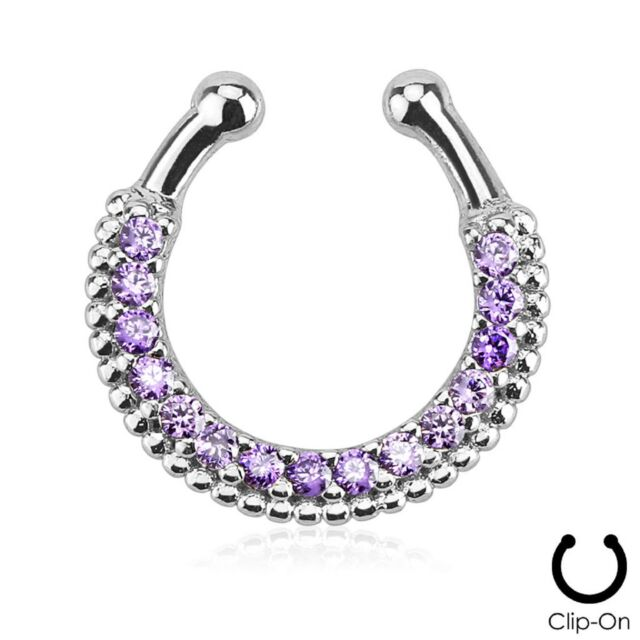 1 Purple CZ Gem Non Piercing Septum Nipple Clip On Fake Jewelry