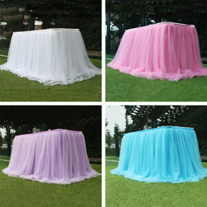 Wedding Dinning Dinner Tablecloth White Pink Blue Table Skirt Decor