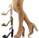 Wild Diva Women's Morris 01 Open Toe Ankle Strap Chunky Block Heel