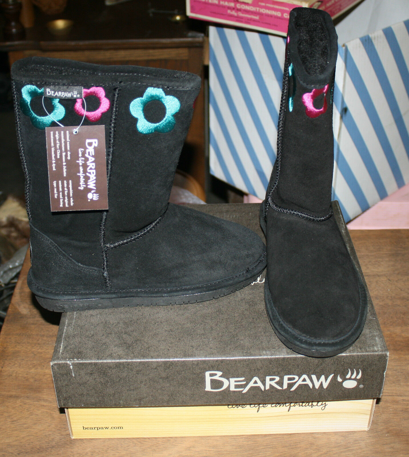 BEARPAW JESSIE WINTER BOOTS YOUTH SIZE 11 BLACK NEW IN BOX FREE SHIPPING