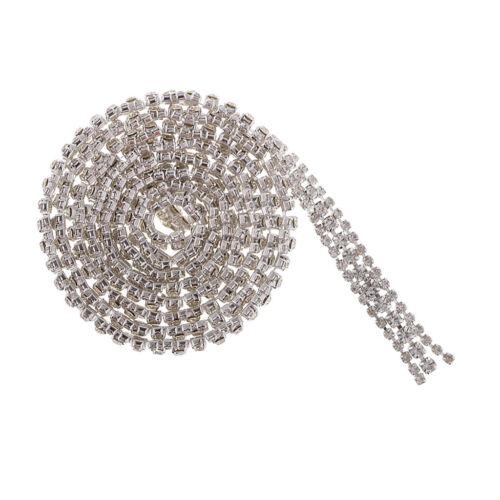 AB Diamond Crystal Rhinestone Close Chain Silver 10mm for Clothes Bags Decor