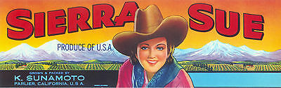 CRATE LABEL BOX VINTAGE ORIGINAL SIERRA NEVADAS SUE PARLIER COWGIRL COWBOY 1950S